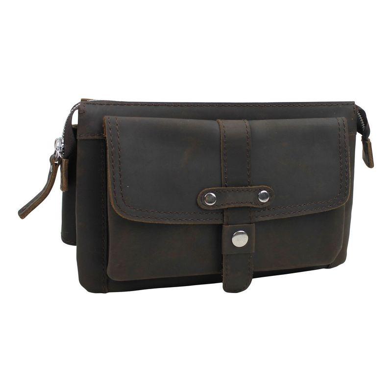 ヴァガボンドトラベラー メンズ ボディバッグ・ウエストポーチ バッグ Large Fashion Leather Waistpacks Dark Brown
