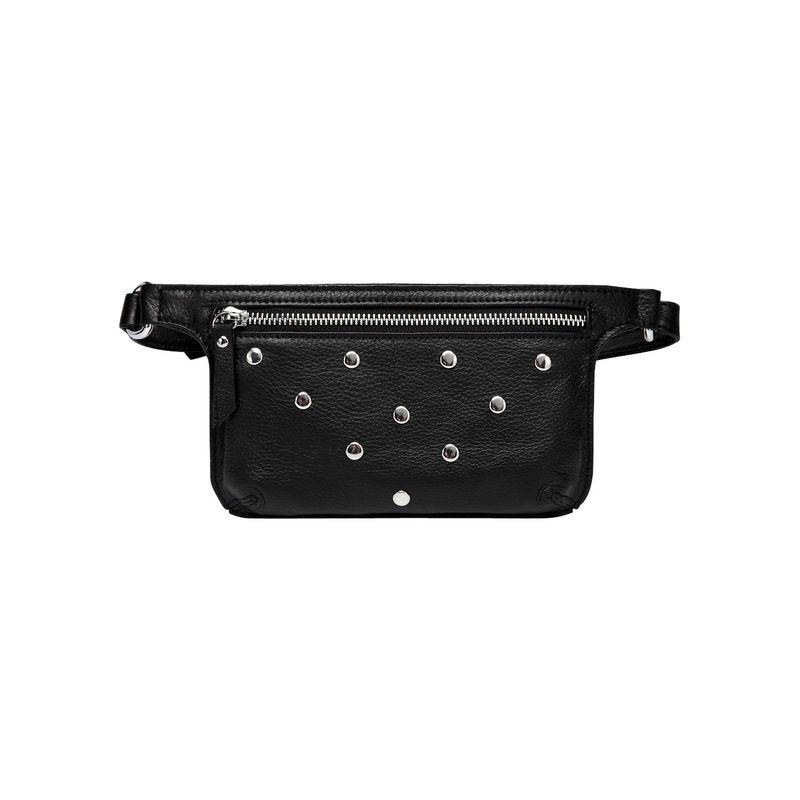 ビンセンゾレザー メンズ ボディバッグ・ウエストポーチ バッグ Jacey Studded Leather Waistbag Black