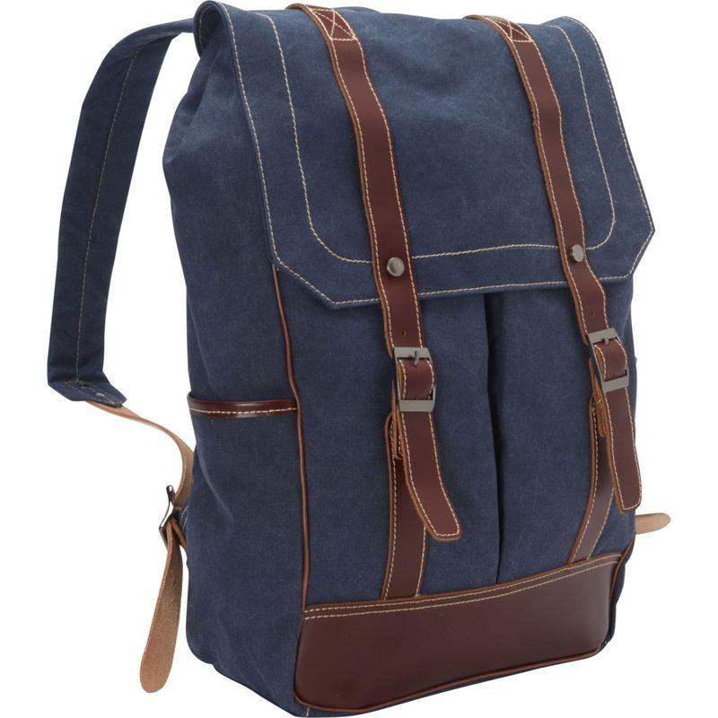 ヴァガボンドトラベラー メンズ バックパック・リュックサック バッグ Cowhide Leather Cotton Canvas Backpack Blue