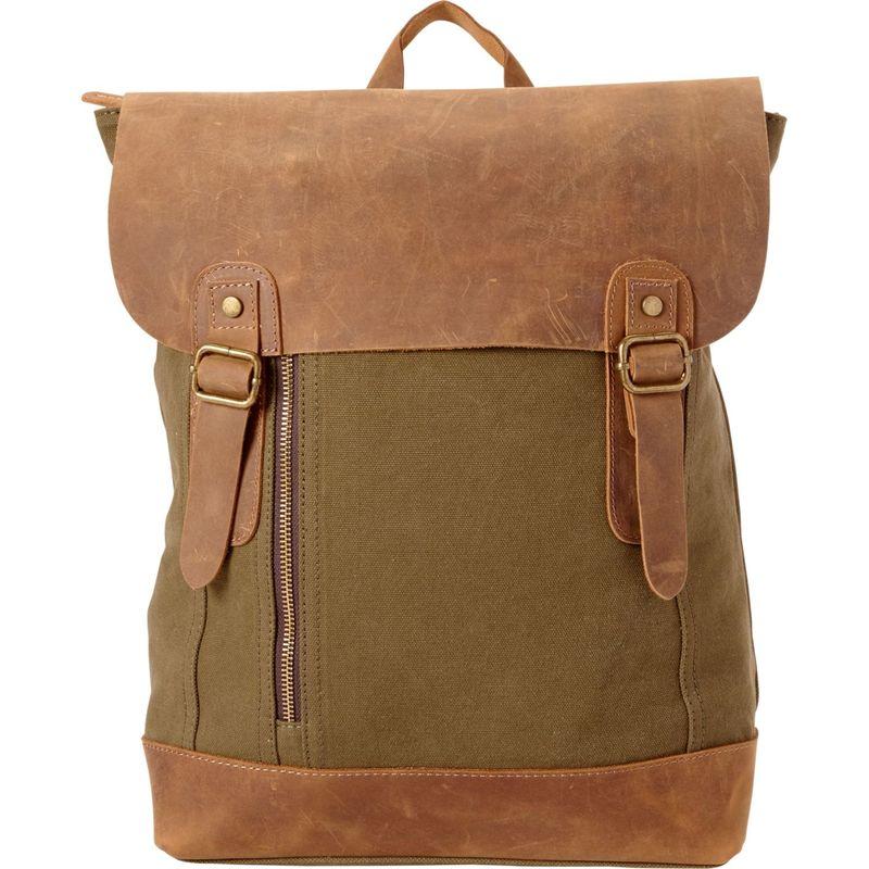 ヴァガボンドトラベラー メンズ バックパック・リュックサック バッグ Cowhide Leather Cotton Canvas Backpack Green