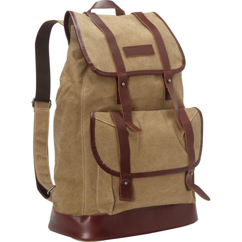 ヴァガボンドトラベラー メンズ バックパック・リュックサック バッグ Cowhide Leather Cotton Canvas Backpack Khaki