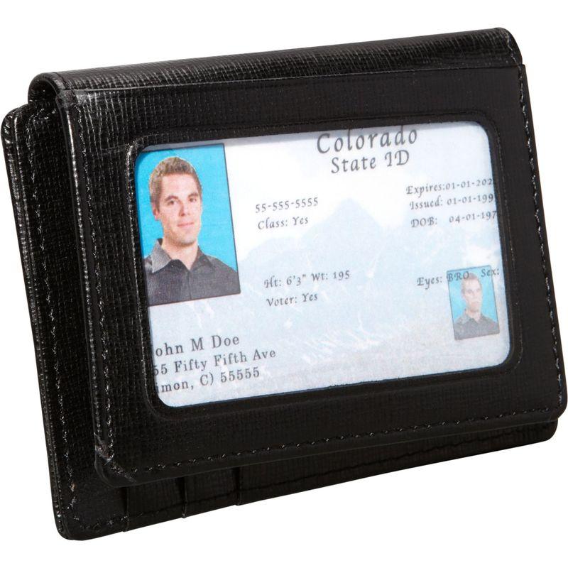 ロイスレザー メンズ 財布 アクセサリー Saffiano Cowhide Money Clip ID Wallet Black