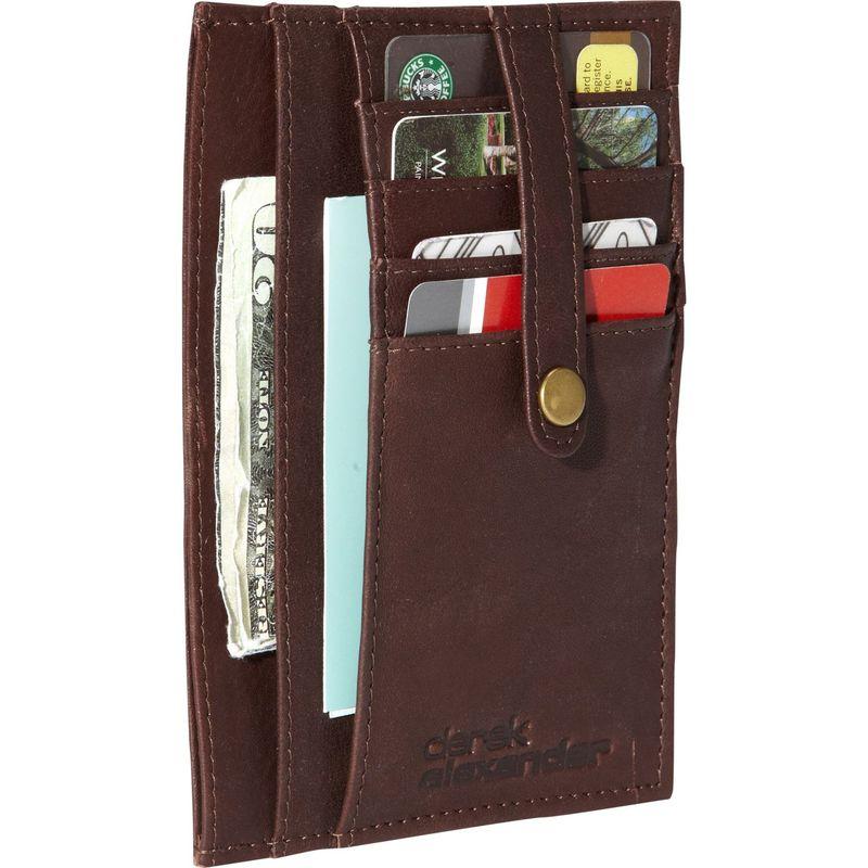 デレクアレクサンダー メンズ 財布 アクセサリー Multi Pocket Double Side Card Holder Brown