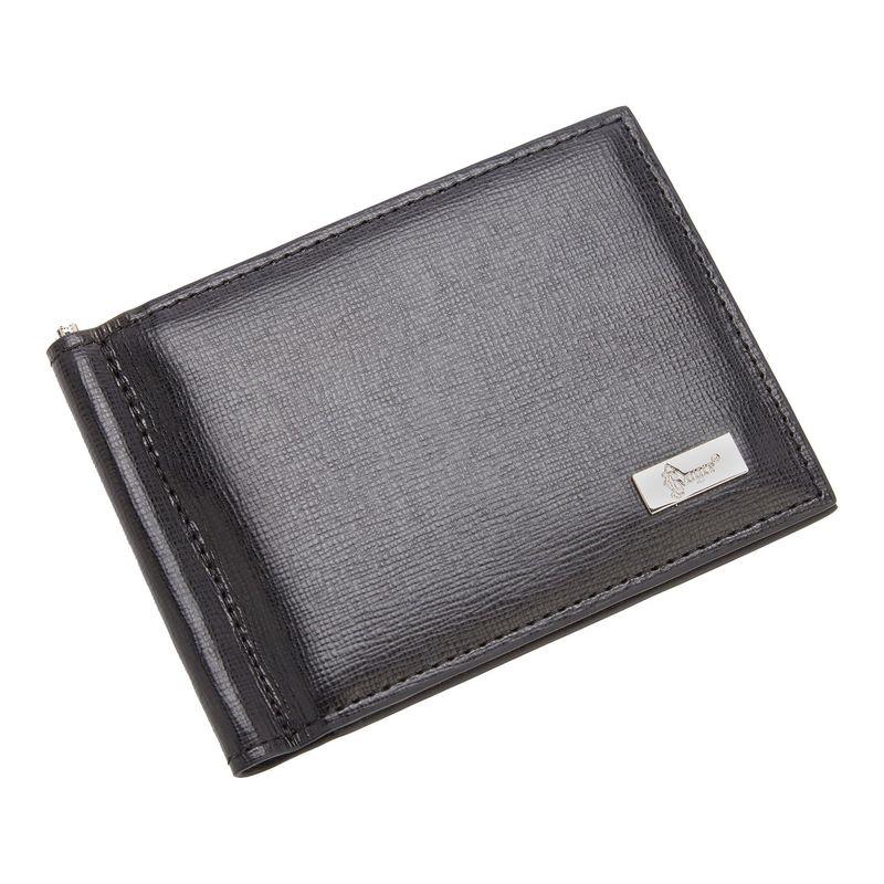 ロイスレザー メンズ 財布 アクセサリー RFID Blocking Saffiano Leather Money Clip Credit Card Front Pocket Wallet Black