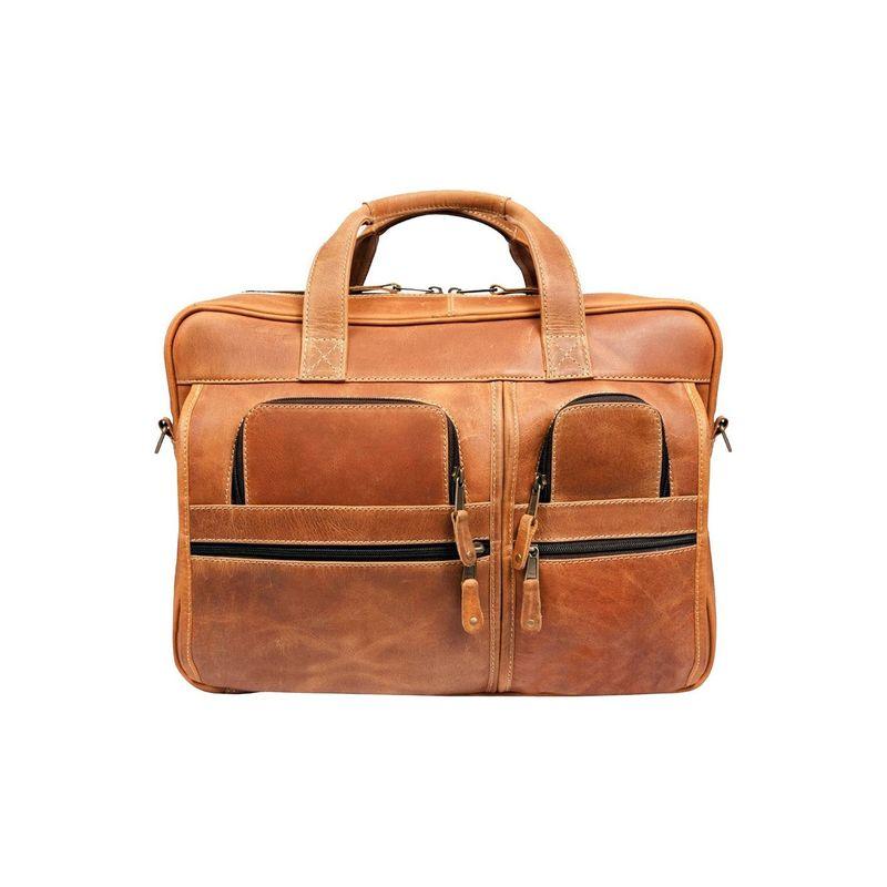 キャニオンアウトバック メンズ スーツケース バッグ Leather Casa Grande Canyon 15.6-inch Leather Computer Bag Distressed Tan