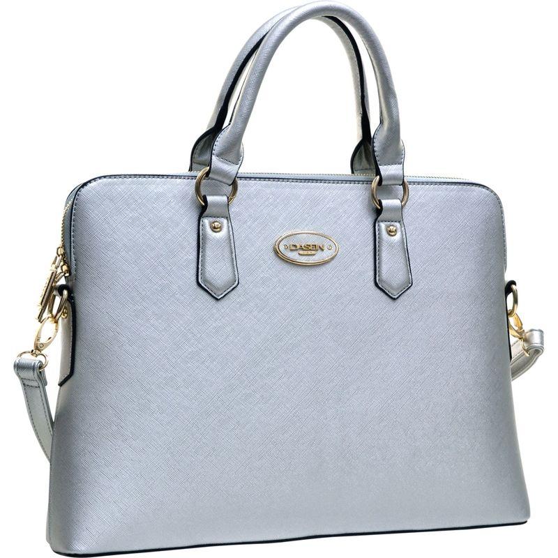 ダセイン メンズ ハンドバッグ バッグ Slim Briefcase with Removable Shoulder Strap Silver