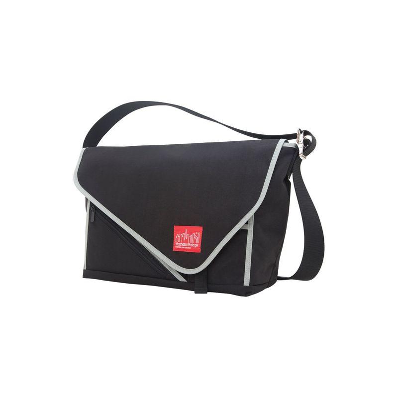 マンハッタンポーテージ メンズ スーツケース バッグ Flat Iron Laptop Messenger (LG) Black, Black, Silver