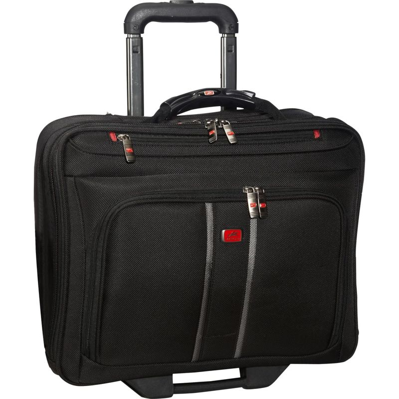 マンシニレザーグッズ メンズ スーツケース バッグ CompuRoller-Double Compartment Wheeled Laptop Briefcase Black