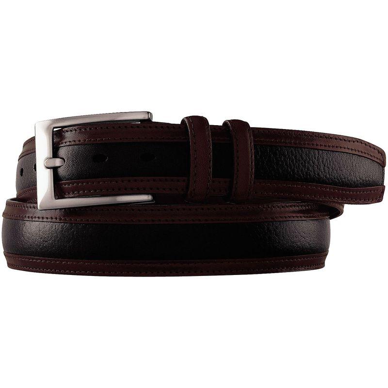 ジョンストンアンドマーフィー メンズ ベルト アクセサリー Deerskin Belt Black/Dark Mahagony - Size 34