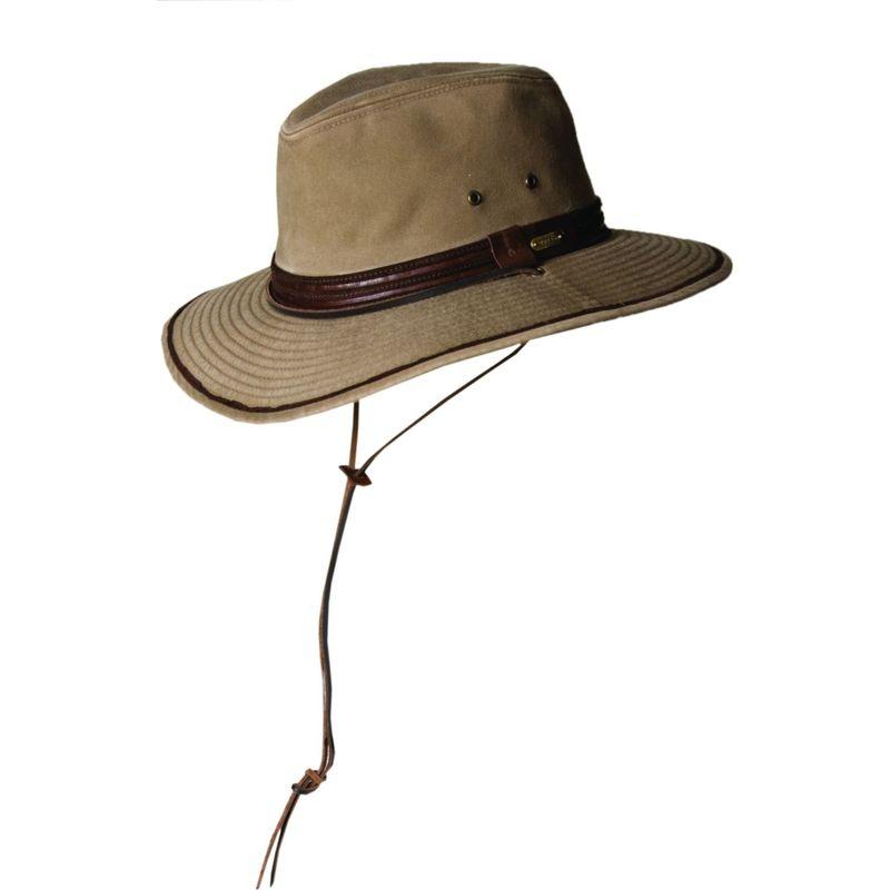 ステトソン メンズ 帽子 アクセサリー Washed Twill Safari XL - Bronze-Large