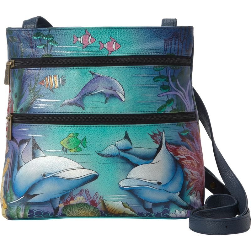 アヌシュカ メンズ ボディバッグ・ウエストポーチ バッグ Hand Painted Compact Crossbody Travel Organizer Dolphin World
