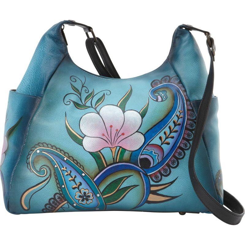 アンナバイアナシュカ メンズ ハンドバッグ バッグ Hand Painted Large Multi Pocket Shoulder Bag Denim Paisley Floral