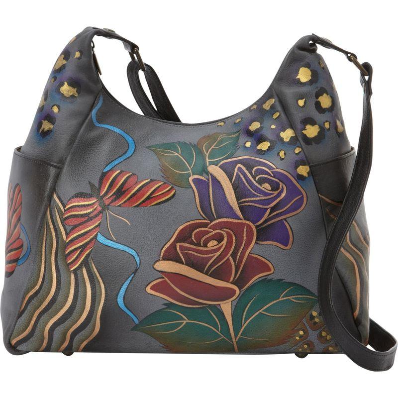 アンナバイアナシュカ メンズ ハンドバッグ バッグ Hand Painted Large Multi Pocket Shoulder Bag Rose Safari Grey