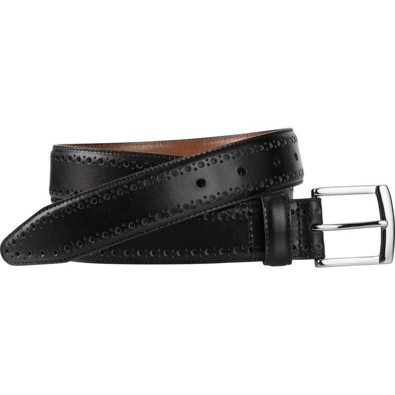 ジョンストンアンドマーフィー メンズ ベルト アクセサリー Perfed-Edge Belt 34 - Black
