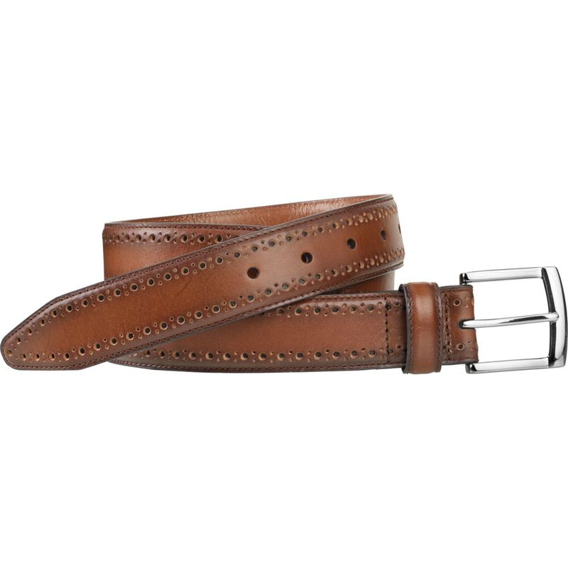 ジョンストンアンドマーフィー メンズ ベルト アクセサリー Perfed-Edge Belt 44 - Cognac