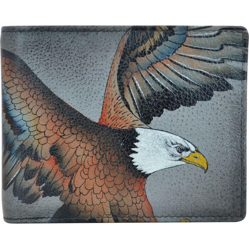 アヌシュカ メンズ 財布 アクセサリー Hand Painted Leather Two Fold Organizer RFID Wallet American Eagle