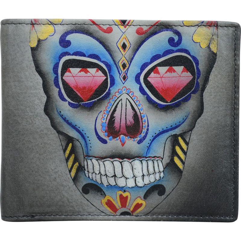 アヌシュカ メンズ 財布 アクセサリー Hand Painted Leather Two Fold Organizer RFID Wallet Calaveras de Azucar
