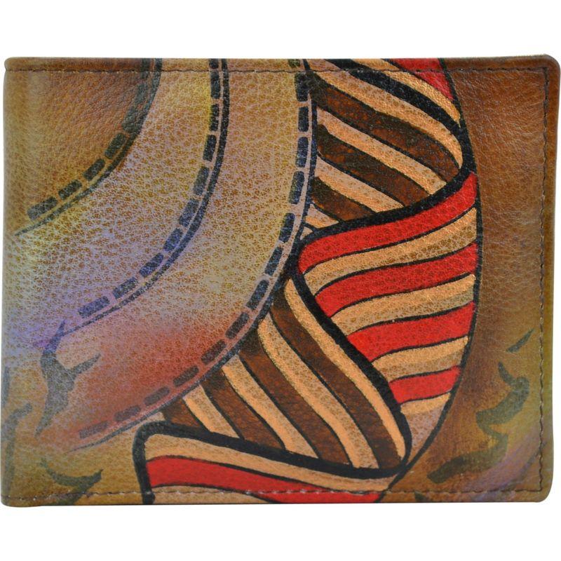 アヌシュカ メンズ 財布 アクセサリー Hand Painted Leather Two Fold Organizer RFID Wallet Desert Safari