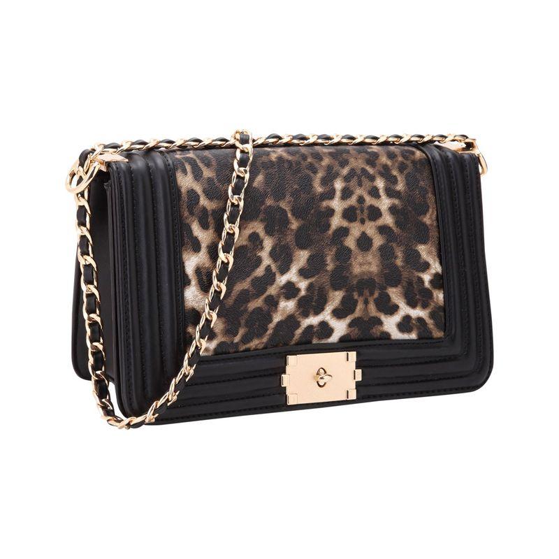 ダセイン メンズ ボディバッグ・ウエストポーチ バッグ Quilted Crossbody Bag with Intertwined Leather Gold-Tone Chain Straps Leopard