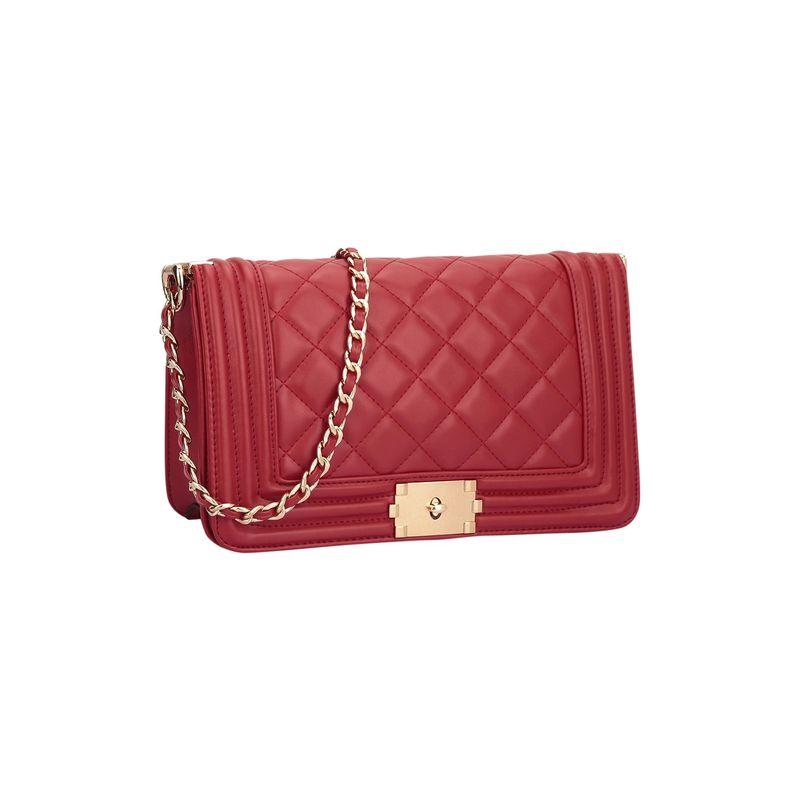 ダセイン メンズ ボディバッグ・ウエストポーチ バッグ Quilted Crossbody Bag with Intertwined Leather Gold-Tone Chain Straps Red