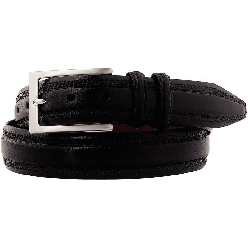 ジョンストンアンドマーフィー メンズ ベルト アクセサリー Double Pinked Belt Black - Size 38