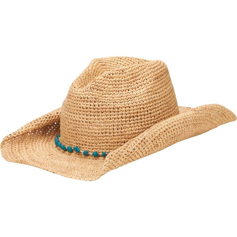 サンディエゴハット メンズ 帽子 アクセサリー Crochet Raffia Cowboy Hat with Turquoise Bead Trim One Size - Natural