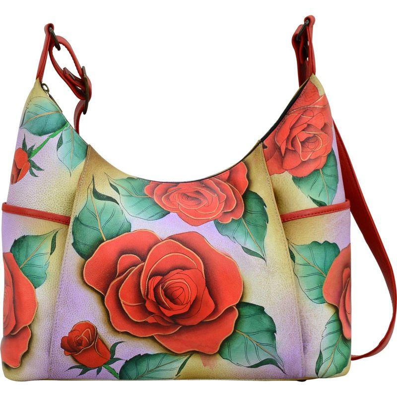 アンナバイアナシュカ メンズ ハンドバッグ バッグ Hand Painted Large Shoulder Hobo Romantic Rose