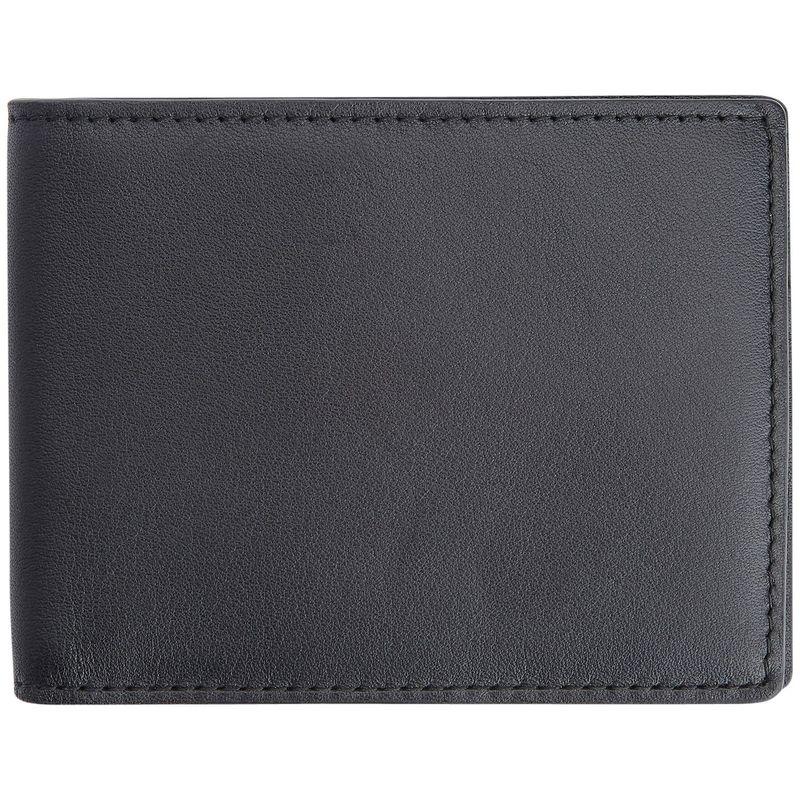 ロイスレザー メンズ 財布 アクセサリー 100 Step Wallet, Men's Slim Bifold Wallet with RFID Blocking Technology Black