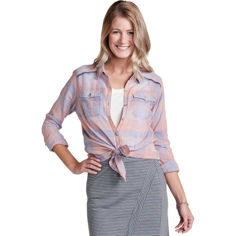 トードアンドコー レディース シャツ トップス Airbrush Long Sleeve Deco Shirt XS - Papaya