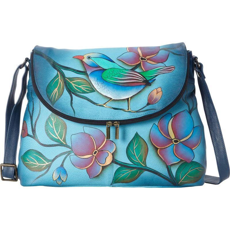 アンナバイアナシュカ メンズ ショルダーバッグ バッグ Hand Painted Large Flap bag Lonesome Bird Denim