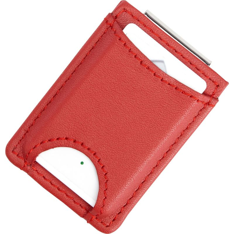 ロイスレザー メンズ 財布 アクセサリー Bluetooth Tracking Wallet Tag Device Inside Slim Genuine Leather Money Clip Wallet Red