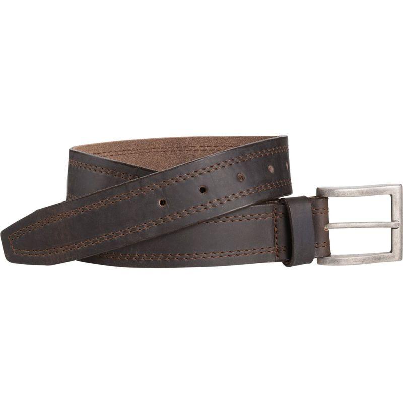 ジョンストンアンドマーフィー メンズ ベルト アクセサリー Double Stitch Belt Dark Brown - Size 32