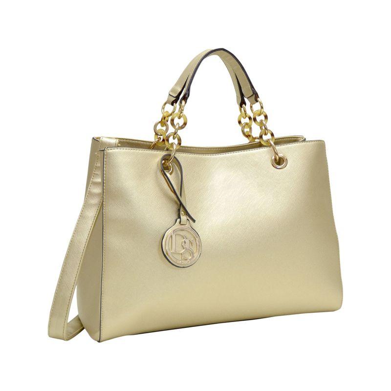 ダセイン メンズ ハンドバッグ バッグ Saffiano Faux Leather Chain Strap Satchel Gold