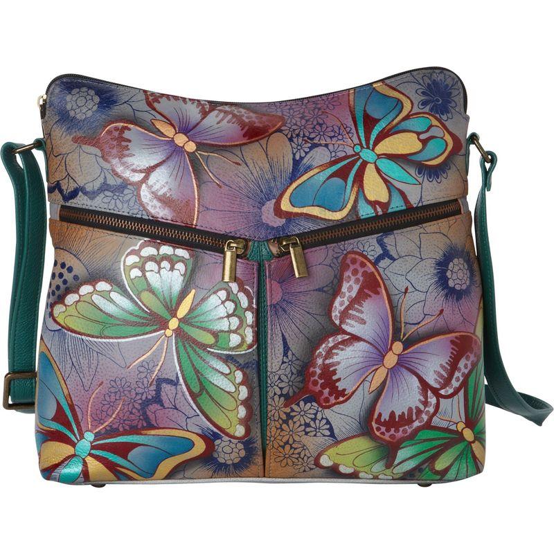 アンナバイアナシュカ メンズ ショルダーバッグ バッグ Hand Painted Leather Shoulder Bag Butterfly Paradise