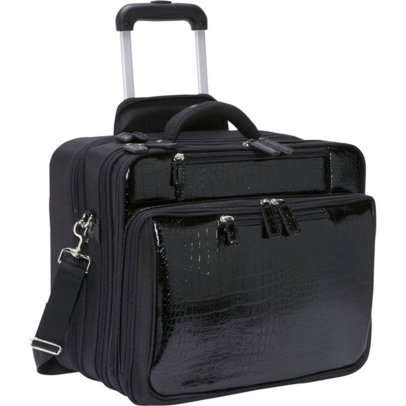 ウーメンインビジネス レディース スーツケース バッグ Francine Collection - Croco 17.3 Laptop Roller Case Black