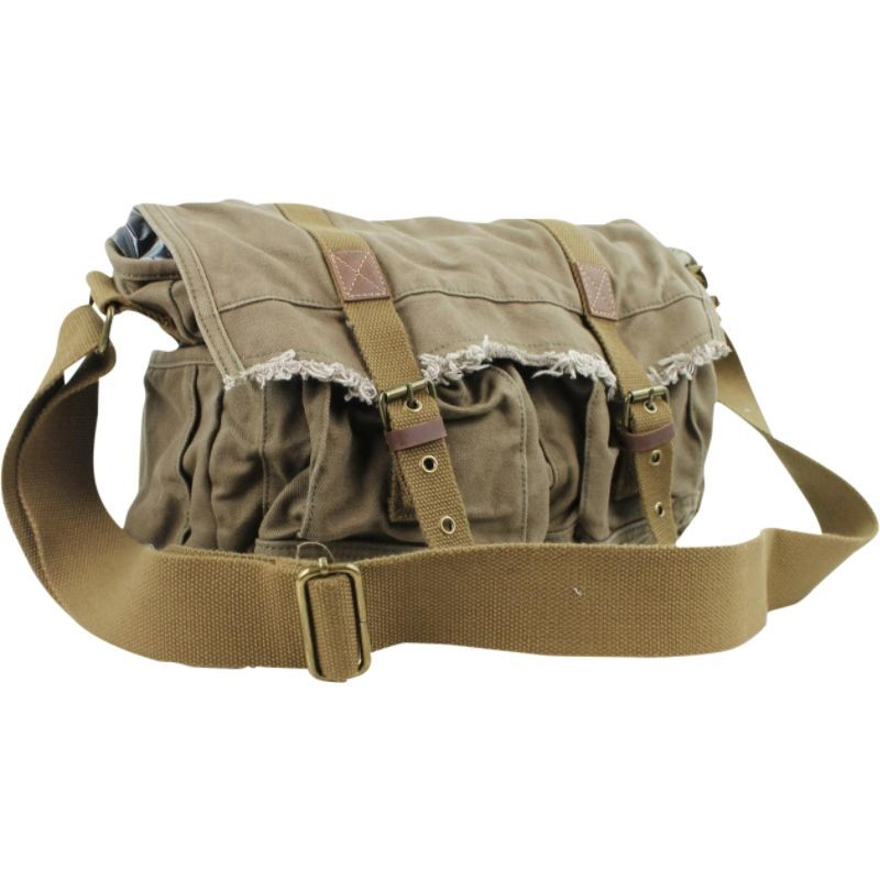 ヴァガボンドトラベラー メンズ ショルダーバッグ バッグ Vintage Style Large Canvas Messenger Bag Military Green