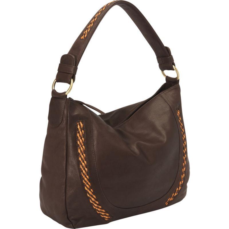 デレクアレクサンダー メンズ ショルダーバッグ バッグ Inset Top Zip Slouch Bag Brown/Tan