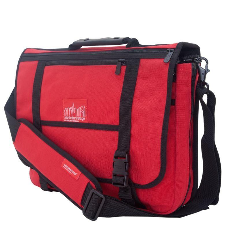 マンハッタンポーテージ メンズ ショルダーバッグ バッグ The Wallstreeter Messenger With Back Zipper Red