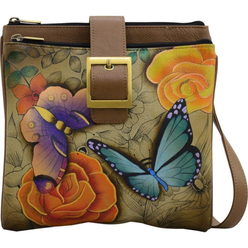 アンナバイアナシュカ メンズ ショルダーバッグ バッグ Hand Painted Triple Compartment Travel Organizer Floral Paradise Tan