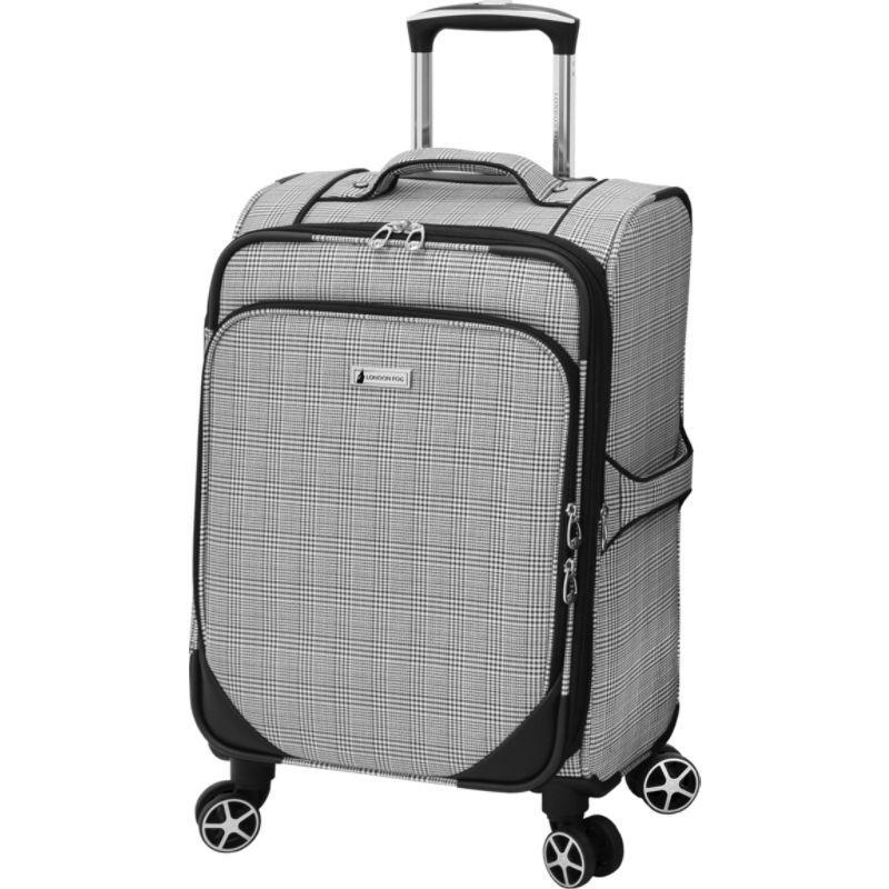 ロンドンフォグ メンズ スーツケース バッグ Softside 20 Expandable Carry-On Spinner Black Menswear Plaid