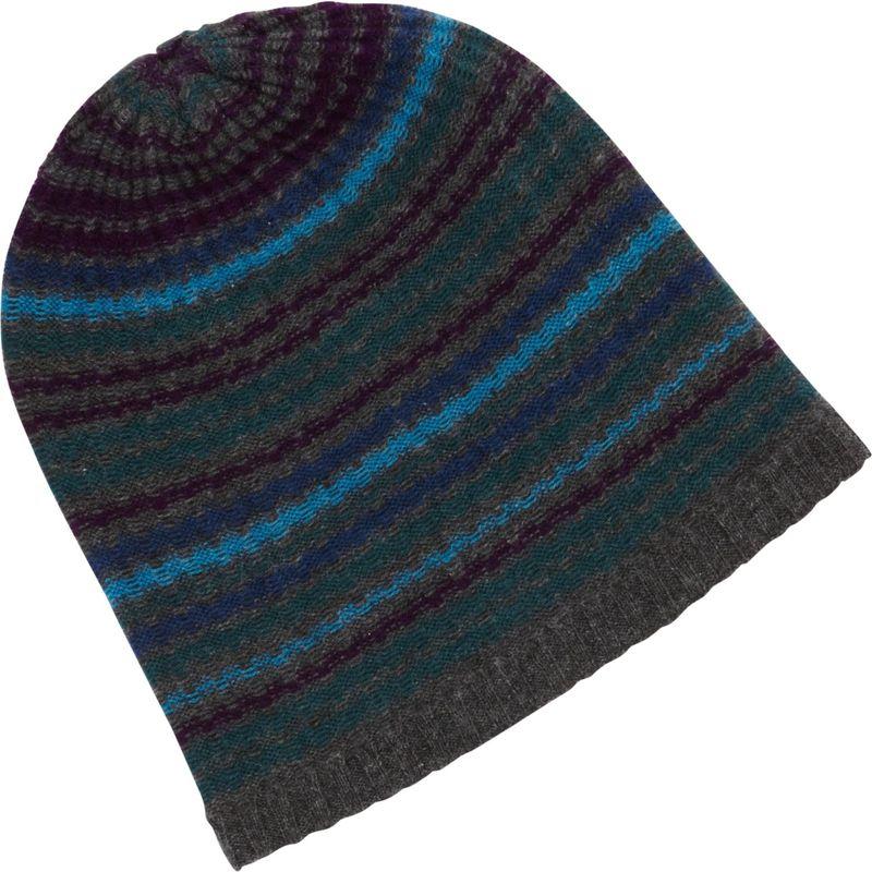キンロスカシミア メンズ 帽子 アクセサリー Drop Needle Rib Stripe Hat One Size - Charcoal Multi