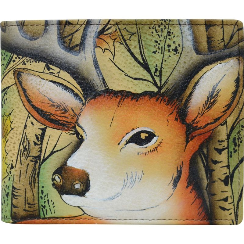 アヌシュカ メンズ 財布 アクセサリー Hand Painted Leather RFID Blocking Bi-fold Men's Wallet Forest Buck