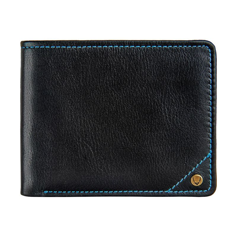 ハイデザイン メンズ 財布 アクセサリー Angle Stitch RFID Blocking Slim Bifold Leather Wallet Black
