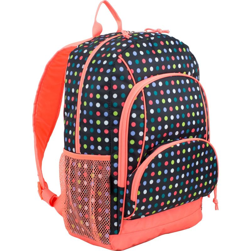 イーストポート メンズ バックパック・リュックサック バッグ Multi Pocket Casual Laptop Backpack Black/Peach Multi Color Dots