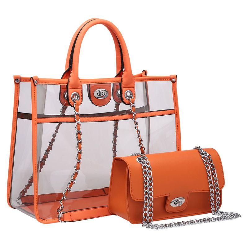 ダセイン メンズ ハンドバッグ バッグ 2-in-1 Classic Clear Transparent Tote Orange