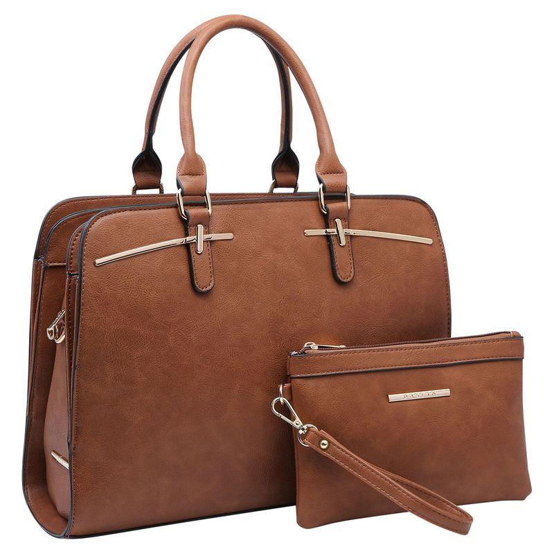 ダセイン メンズ ハンドバッグ バッグ Leather Satchel with Matching Wristlet Brown