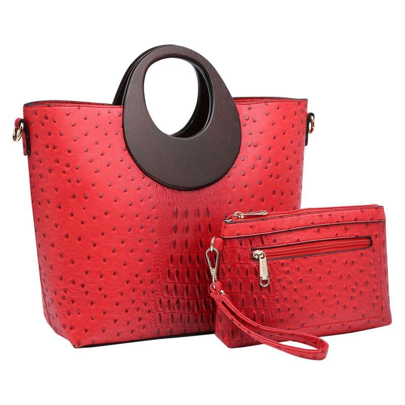 ダセイン メンズ ハンドバッグ バッグ Rolled Handle Satchel with Matching Wristlet Red