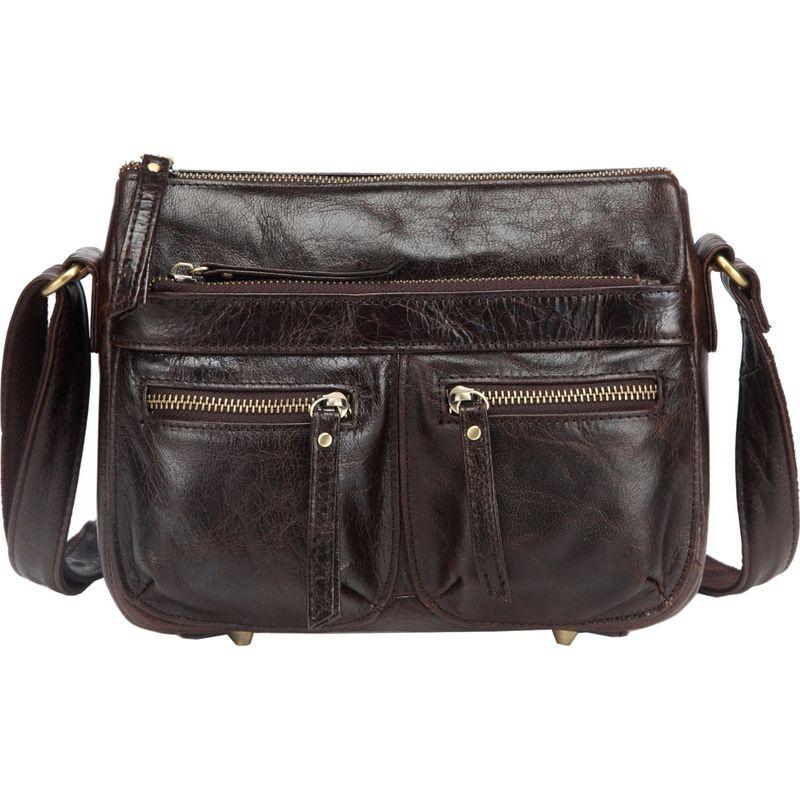 ビンセンゾレザー メンズ ボディバッグ・ウエストポーチ バッグ Zinnia Leather Crossbody Handbag Dark Brown