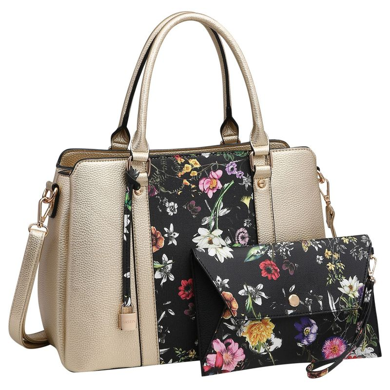 ダセイン メンズ ハンドバッグ バッグ Two Tone Satchel with Matching Wallet Gold/Black Flower