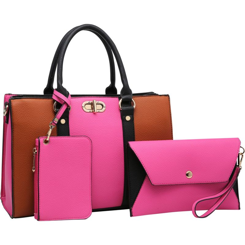 ダセイン メンズ ハンドバッグ バッグ 3-in-1 Two Tone Medium Satchel with Matching Wallet and Wristlet Fuchsia/Brown